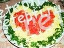 Салат из куриных сердечек и пупков с огурцами, яйцом и грибами.
