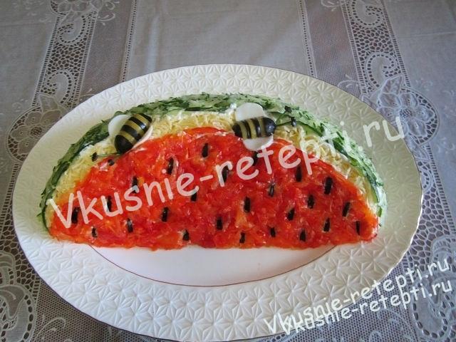 Салат из куры Арбузная долька фото