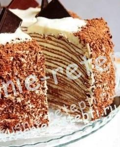 Блинный шоколадный торт с творогом