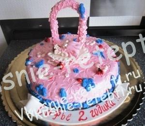 Бисквитный детский торт для девочки