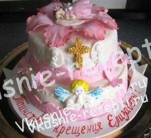 детский торт на крестины с фруктами, торт на крестины