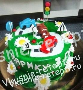 детский фруктовый торт из мастики