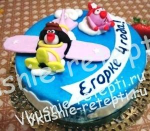 детский торт из мастики  с вареной сгущенкой, фото