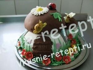 сметанный детский торт с фруктами