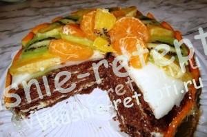 Бисквитный шоколадный торт c фруктами в разрезе, фото