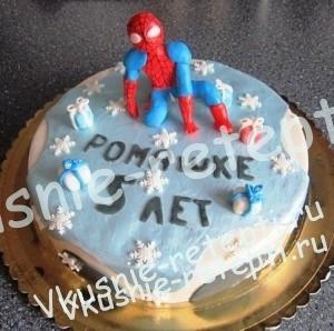 детский торт из мастики  человек паук, шоколад на кипятке, крем тирамису, маскарпоне, орехи и вишня