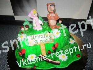 торт Маша + Медведь, внутри торт киевский, фото