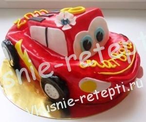 фруктовый детский торт Машинка с творожным кремом, Красивые детские торты