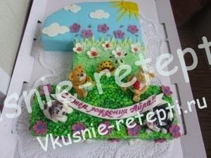 детский торт на год с вишней, фото
