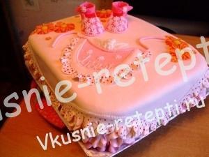 Детский торт из мастики на годик девочке