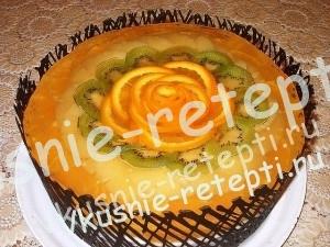 Желейный торт суфле с фруктами в шоколадной сетке