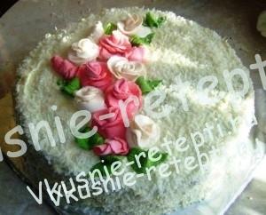 торт медовый домашний со сгущенкой, оформление розами
