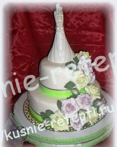 Украшение свадебного торта тирамису
