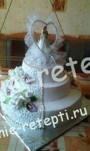 свадебный белый торт из зефира