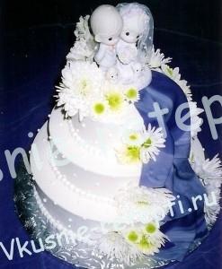 Свадебный торт из мастики кокосовый с заварным кремом