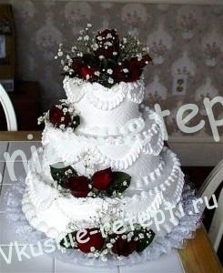 Торт  свадебный домик с шоколадным кремом, фото