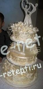 Торт суфле  свадебный трех ярусный