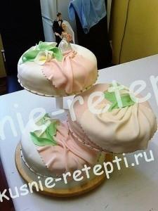 Желейный торт свадебный трех ярусный