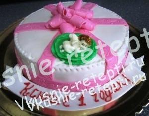 детский торт подарок, шоколадный торт с вишней и бананом