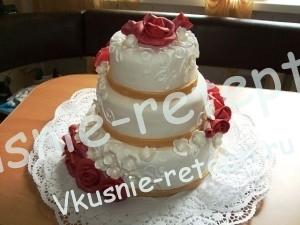 Апельсиновый свадебный торт из мастики