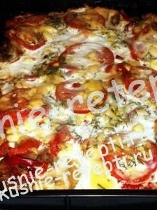 Запеченная свинина с овощами с баклажанами и помидорами