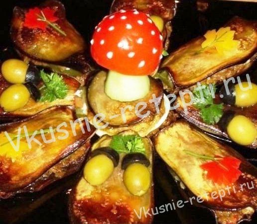 Оригинальная закуска из баклажанов Осень, фото