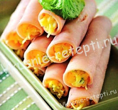 Закуска для фуршета - Рулеты из ветчины с сыром, фото