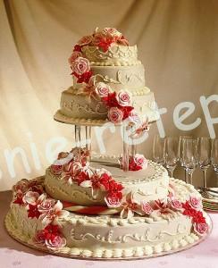 Свадебный торт на подставке, фото