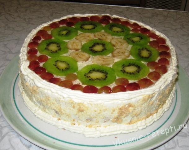 Торт из желатина бисквита сметаны и фруктов фото 5