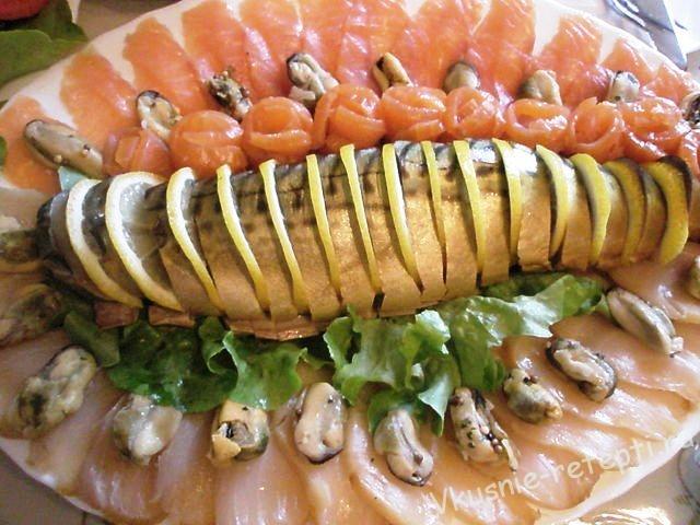 как украсить красную рыбу на тарелке фото