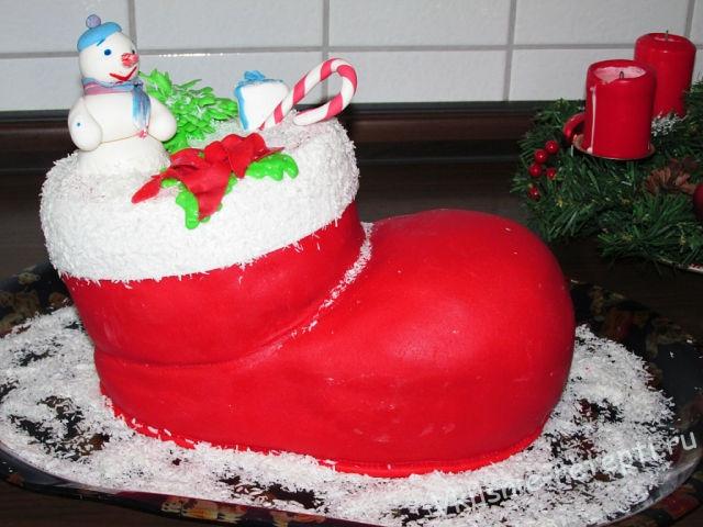 Торт на рождество сапог