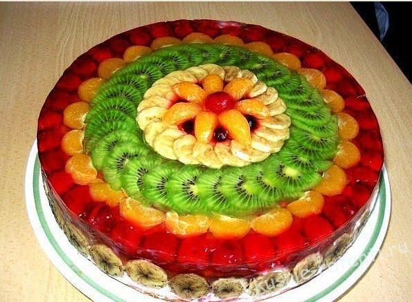 Желатиновый торт с фруктами