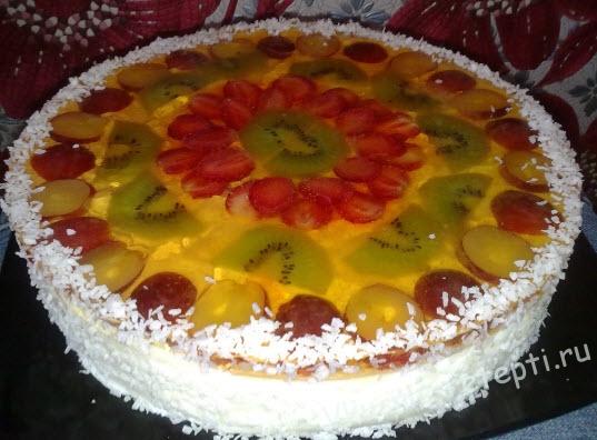 Торт бисквитный фруктовый рецепты с фото