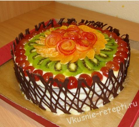 торт с фруктами рецепт с фото