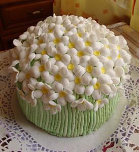 торт с ромашками из мастики фото