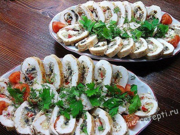 куриные рулетики с сыром и грибами фото