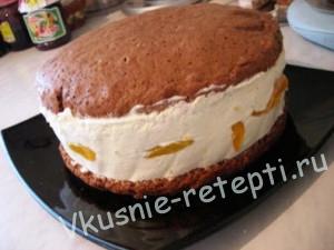торт Сливочные облака с персиками рецепт с фото