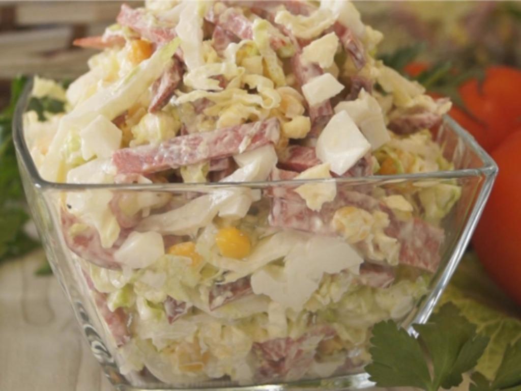 Рецепт салат с пекинской капустой и копченой колбасой