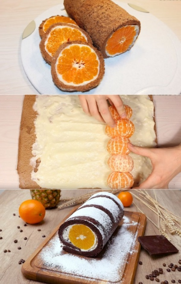 Бисквитный рулет «Сочный мандарин»: как из кондитерской, только вкуснее. Беру только грузинские, без косточек!