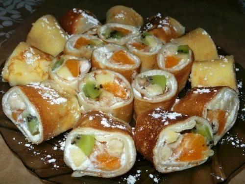 Блинные роллы с фруктовой начинкой. Вкуснятина!