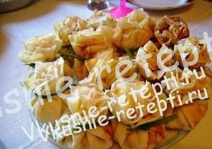 куриный рецепт салата, Грибочки в мешочке