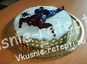 сгущенный детский торт человек паук с черносливом, Красивые детские торты