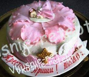 песочный детский торт на крестины, торт для крестин