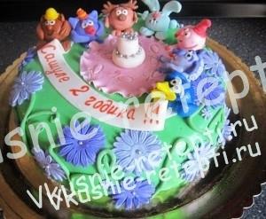 Шоколадный детский торт для девочки
