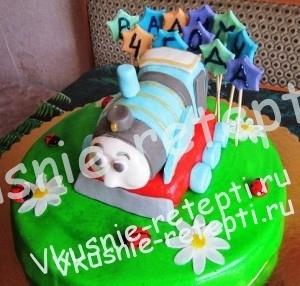 детский торт из мастики паровозик, фото