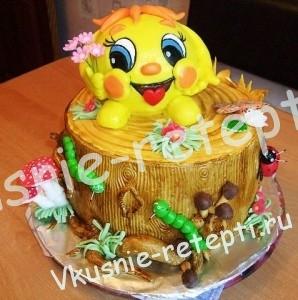 Детский торт из мастики с ананасами с кремом из сливок