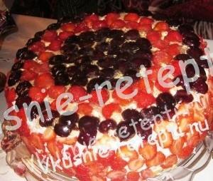 шоколадный бисквитный фруктовый торт