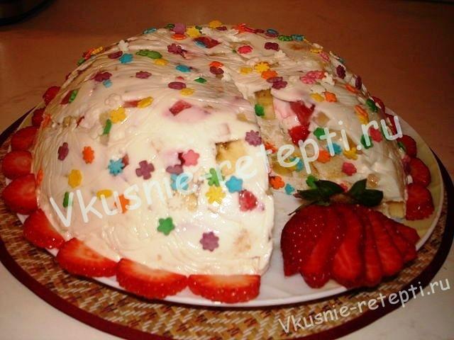 Творожный десерт с фруктами «Фруктовое удовольствие». Торт битое стекло
