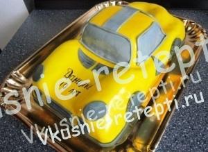 Творожный бисквитный торт Машина, торт с фото