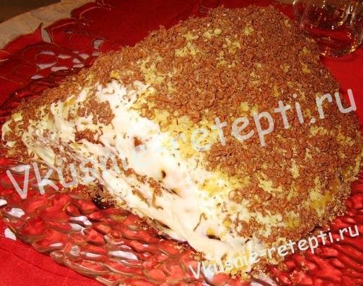 Вишневый торт на сметане с кремом из сливок фото
